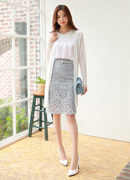 [Weekly Best]Romantic Floral Lace H-Line Skirt, Styleonme