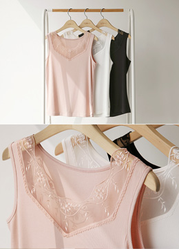 See-through Lace Detail Ribbed Tank Top, Styleonme