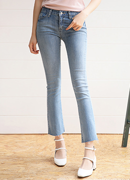 Natural Blue Wash Cut Hem Boot-Cut Jeans, Styleonme