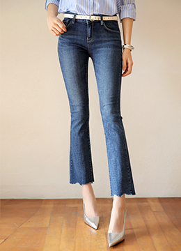 Natural Blue Wash Boot-Cut Jeans, Styleonme