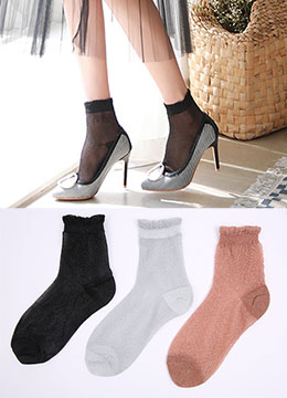 Metallic Sheer Socks, Styleonme