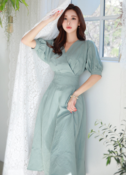 Balloon Sleeve Wrap Style Long Dress, Styleonme
