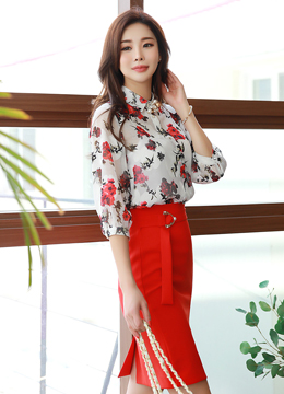Rose Print Sheer Collared Blouse, Styleonme