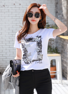 Artlstic Floral Graphic Print T-shirt, Styleonme