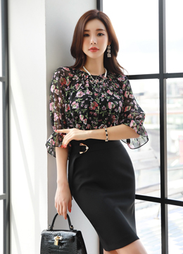 Floral Print Shirred Neckline Blouse, Styleonme