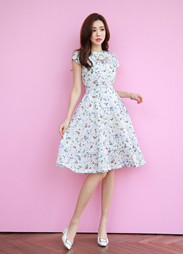 Butterfly Floral Print Flared Dress, Styleonme
