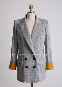 Check Print Color Cuff Linen-blend Tailored Jacket, Styleonme
