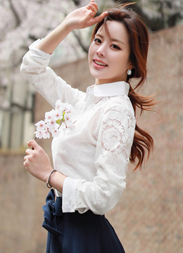 See-through Floral Lace Collared Shirt, Styleonme