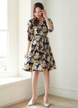 Floral Print Balloon Sleeve Waist Tie Flared Dress, Styleonme