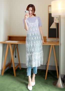 See-through Lace Layered Dress, Styleonme