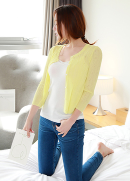 Pastel Color Ribbed Mini Cardigan, Styleonme