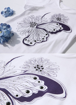 Butterfly Floral Illustration T-shirt, Styleonme