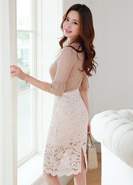 See-through Floral Lace Midi H-Line Skirt, Styleonme