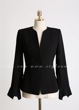 Pearl Accent Bell Sleeve Collarless Jacket, Styleonme