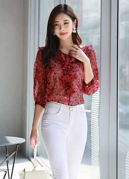 Floral Print Sheer Ruffle Blouse, Styleonme
