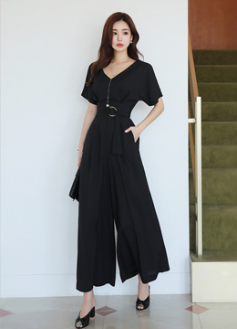 V-Neck Wide Leg Jumpsuit, Styleonme