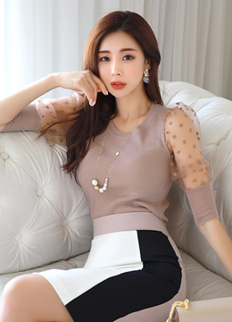 See-through Dot Patterned Sleeve Knit Tee, Styleonme