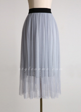 Pearl Accent Mesh Skirt, Styleonme