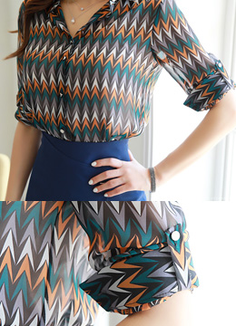 Color Zig-Zag Print Chiffon Collared Blouse, Styleonme