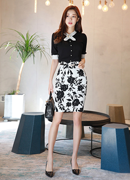 Monocolor Floral Print H-Line Skirt, Styleonme