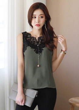 Floral Lace Sleeveless Blouse, Styleonme