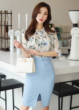 Spring Floral Print Half Sleeve Blouse, Styleonme