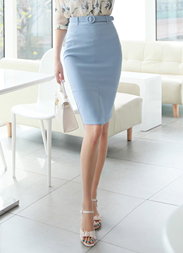 Front Slit High-Waisted Belted Pencil Skirt, Styleonme