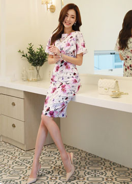 Watercolor Floral Print Butterfly Sleeve Dress, Styleonme