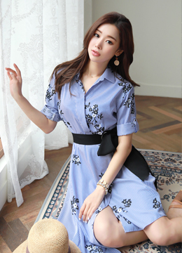 Pinstripe Floral Print Collared Dress, Styleonme