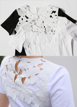 Flower Motif Lace Jeweled T-shirt, Styleonme