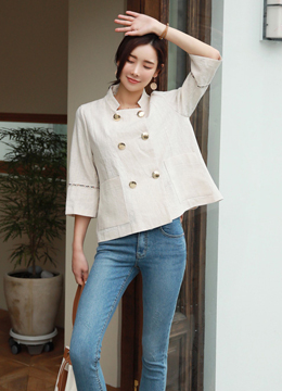 Linen Double-Breasted Jacket, Styleonme