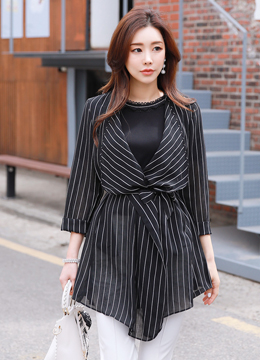 Pinstripe Belted Wrap Style Jacket, Styleonme