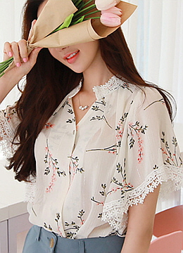 Floral Print Angel Sleeve Blouse, Styleonme