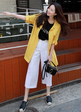 Vivid Color Roll-Up Sleeve Long Collared Jacket, Styleonme
