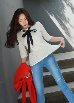 Unique Ribbon Eyelet Neckline T-shirt, Styleonme