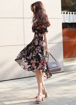 Floral Print Wrap Style Flared Dress, Styleonme
