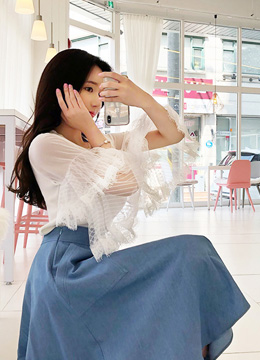Double Lace Flared Sleeve Knit T-shirt, Styleonme