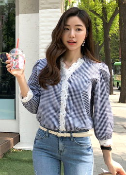 Gingham Check Print Lace Trim Blouse, Styleonme