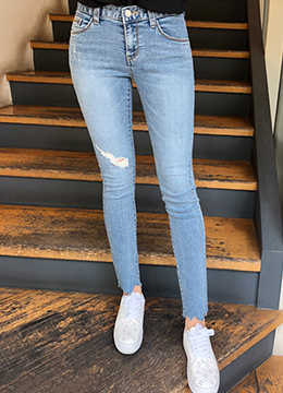 Uneven Cut Hem Ripped Skinny Jeans, Styleonme
