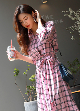 Pink Check Print Belted Collared Dress, Styleonme