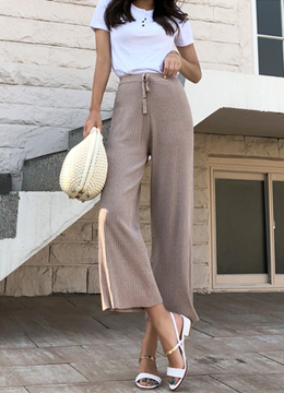 Linen Ribbed Wide Leg Knit Pants, Styleonme