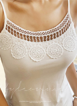 Beaded Crochet Lace Detail Tank Top, Styleonme