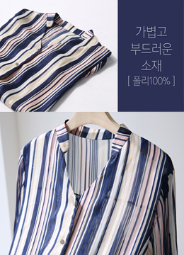 Metallic Pinstripe Roll-Up Sleeve Blouse, Styleonme
