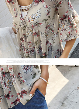 Watercolor Floral Print A-Line Blouse, Styleonme