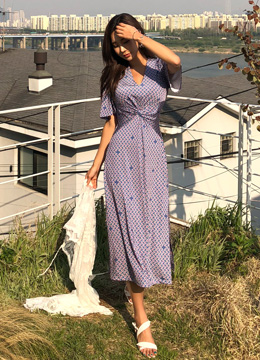 Unique Patterned V-Neck Side Slit Long Dress, Styleonme