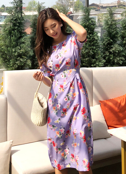 Purple Floral Print Puff Sleeve Long Dress, Styleonme