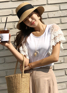 Lace Butterfly Sleeve T-shirt, Styleonme
