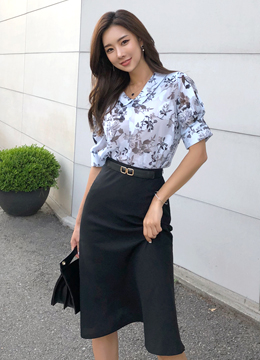 Watercolor Floral Print Collared Blouse, Styleonme
