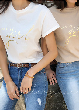 Gold Lettering Roll-Up Sleeve T-shirt, Styleonme