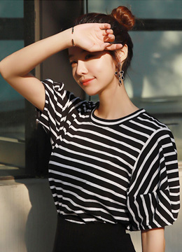 Stripe Balloon Sleeve T-shirt, Styleonme
